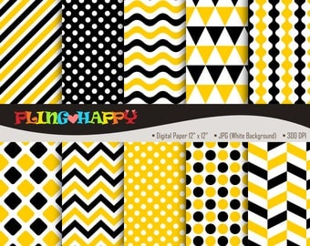 70% OFF Yellow And Black Digital Papers, Chevron/Polka Dot/Wave/Stripe Pattern Graphics, Personal & Small Commercial Use, Instant Download