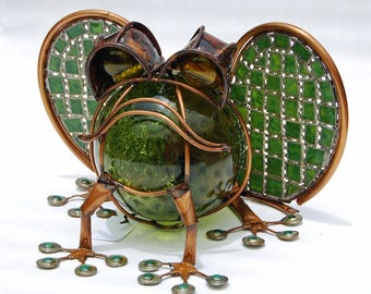 Frog Yard Art Sculpture in Shades of Olive and Kelly Green, Copper and Stained Glass