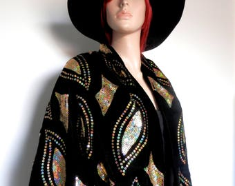 Beautiful French Real Silk Black & Gold Sequined Tasselled Shawl/Scarf/Wrap
