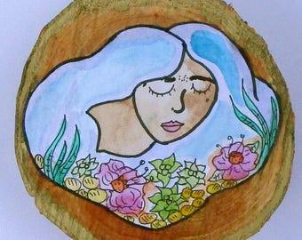 Cloud Goddess Watercolor Illustration on Wood