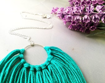 Dreamcatcher Necklace Alternative Cotton silver 925 for her gift