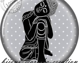 Buddha meditation Gray 25mm, 20mm, 18mm, 16mm resin Cabochon.