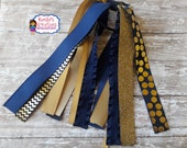 Gold and Navy Streamers,Navy Blue and Gold Ponytail Streamers,Ponytail Streamers,Navy and Gold Softball Streamers,Gold and Navy Softball.