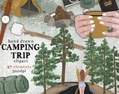 Camping clipart kit road trip adventure digital clip art commercial use fashion girl forest trees road fireplace marshmallows camera tent
