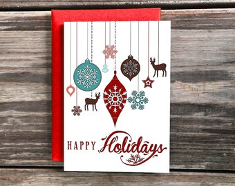 Happy Holidays Card, Ornaments Art Christmas Cards, Merry X-Mas