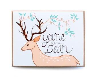 Card, Just Because Card, Friend Card, Thank you Card, Handmade Best Friend card, Deer Card, Animal Card, Floral Card, You're such a Dear