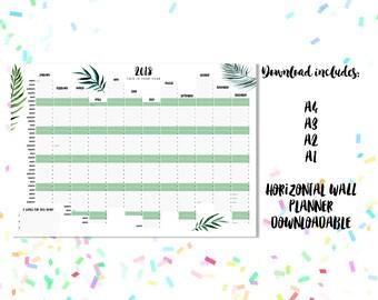2018 Botanics Downloadable Landscape Wall Planner - A1, A2, A3 + A4