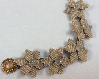 Stunning Stanley Hagler bracelet - cream flowers