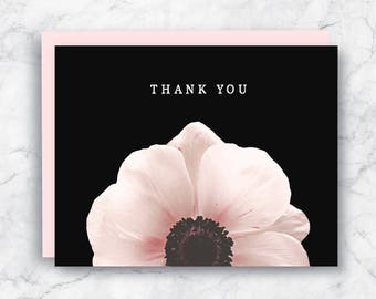 Thank You Card - Floral Thank You Card - Pretty Thank You Card - Pink Anemone - Anemone Card - Flower Thank You Card - Pink and Black Card