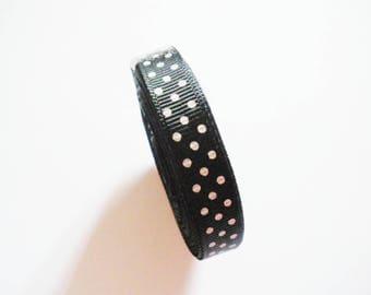 Black ribbons with polka dots, 10 mm