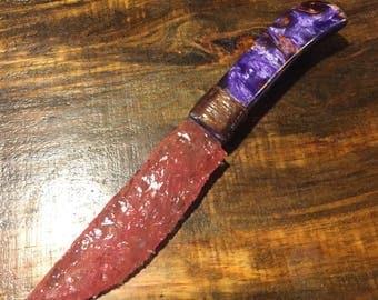 Cherry Quartz Knife + Custom Handle