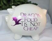 Large White Ceramic Piggy Bank - Dragon Food Tis Not Cheap - Large Piggy Bank - Decorated Piggy Bank - Ceramic Bank - Dragon Theme - 9-009B