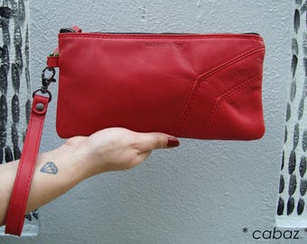 Red evening bag, leather clutch cabaz
