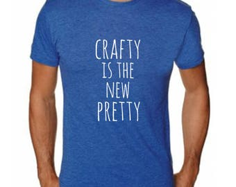 Crafty is the New Pretty Men's T-Shirt, Men's Graphic T-Shirt, Shirts with Sayings, Royal Blue