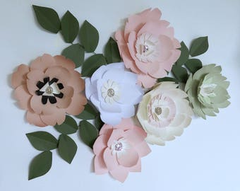Paper flower sage green wall decor giant blush paper flower backdrop wedding flower centerpiece decor baby girl nursery bedroom kid decor