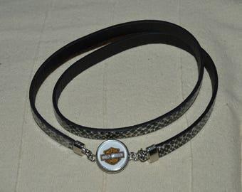 Harley davidson leather speckled chunk bracelet