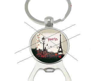 bottle opener key ring cabochon paris