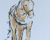 Horse ORIGINAL Miniature Ink and Watercolour 'Harness Horse' ACEO, Equine, For him, For her, Home Decor,Wall Art, Gift Idea, Free Shipping