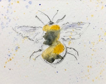 Bee ORIGINAL Miniature Watercolour ACEO 'Busy Bee' Wildlife, For him,For her,Home Decor Wall Art Gift Idea, Free shipping