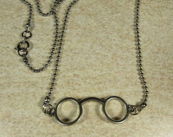 Harry Potter style necklace, Steampunk necklace, Ball chain necklace, Glasses charm, Glasses pendant