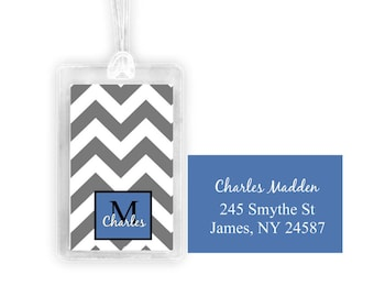 chevron stripe luggage tag, personalized luggage tag, custom luggage tag, monogramed tag,