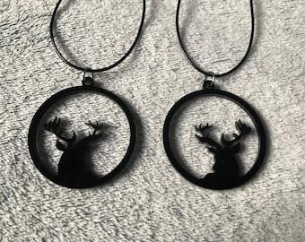 Black Acrylic Lasercut Deer Antler Necklace