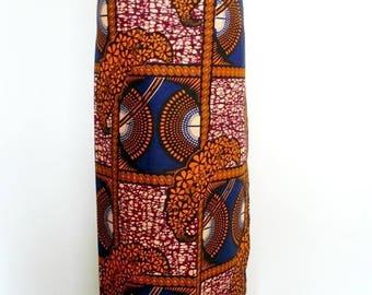 Orange and Navy Floral and Squares Ankara Lapa, Ankara Wrap Skirt,  African Wax Maxi Skirt - Made to Order