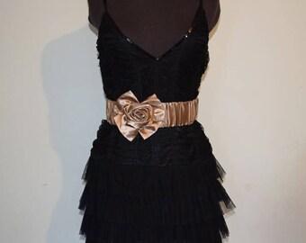 Gold Satin Rose Belt, Wedding Belt, Bridesmaids' Belt, Wedding Accessory, Satin Formal Belt, Satin Elastic Belt