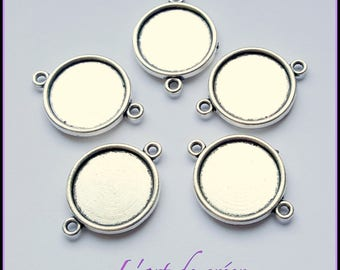 double 10 x 18 mm cabochon silver connector