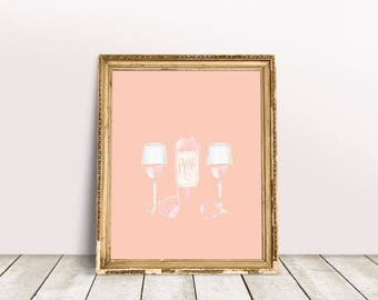 Rose All Day Print   French Wine Print, Rosé All Day, Winelover, Wine Lover Print, Wine Bottle Print, Wine Quote, Wine Wall Art