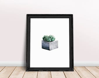 Succulent Print   Terrarium Wall Art, Terrarium Print, Air Plant Terrarium, Desert Plant Print, Plant Painting Print, Plant Paint Print