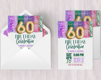 Sixtieth Invitation | Sixtieth Birthday, 60th Birthday Poster, 60th Birthday Card, 60th Invitation, Metallic Invitation, Brush Strokes