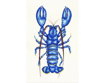 "Lobster original painting  // Size A5 - 5.8"" x 8.3"""