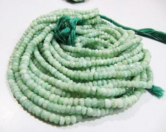 Best Quality Genuine Amazonite 5-6mm Size Beads , Natural Amazonite Rondelle Faceted Beads , Length 13 inch long , Micro Faceted Gemstone.