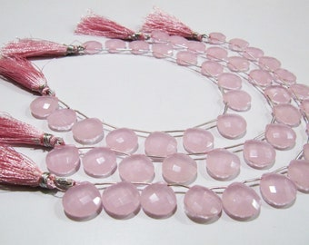 AAA Quality Pink Chalcedony Briolette Beads/ Heart Shape Top Drilled Beads Size 14-15mm /Hydro Quartz Faceted Beads/ 9inch Strand