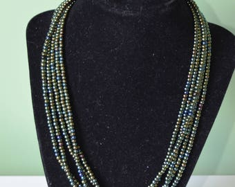 Multiple Strand Green bead necklace with silver plated magnetic clasp, Jewelry, gift under 15 dollars