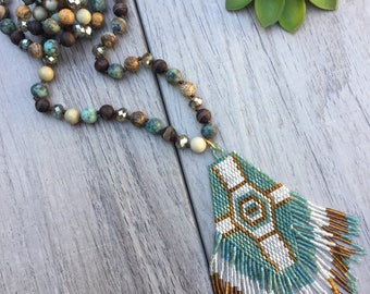 Jasper, African turquoise and crystal beaded tassel boho necklace // Fast and free shipping