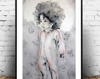Afro art, African figurative painting,  Afro kids wall, for kids room, kids portrait, original watercolor painting, Original art.