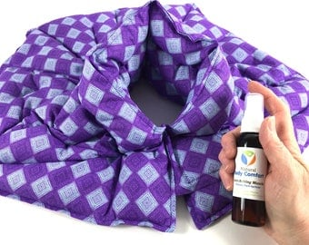 Neck Wrap, Microwave heating pad, Hot Pack, Cold Pack, Therapy Flax & Rice Bag, Aromatherapy, Neck pillow, Gift Under 50, SHIPS FREE!