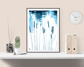 Framed Bullrushes print, Lakeside rushes, Limited edition plant print, Flora and Fauna, Blue coloured print, Art for the home,  103
