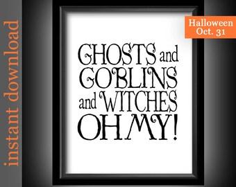 Halloween Printable, Halloween wall art, Halloween decor, Halloween typography, Halloween quote, funny Halloween, Halloween download, ghosts