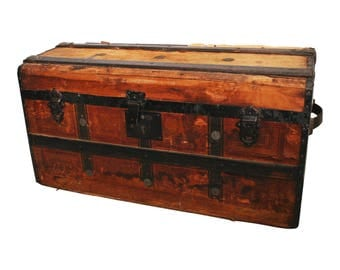 Vintage CAMELBACK TRUNK storage chest steamer train luggage antique toy box wood tin dome top camel hump rustic primitive wooden humpback 39