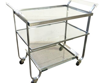 Vintage Rolling Bar Cart LUCITE glass CHROME tea tier silver italy hollywood regency mid century modern serving tray kitchen liqour storage