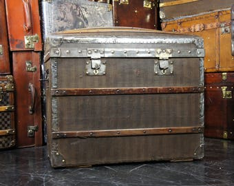 Striped French Canvas Domed Chest Travel Trunk Circa 1890