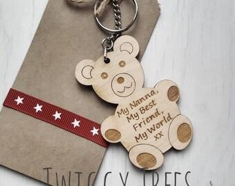 Wooden My Nanna, My best friend, My world  Teddy Bear    Engraved Keyring Gift