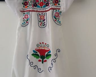Mexican Embroidered Drees for girl - Drees or basket- vestido de canasta