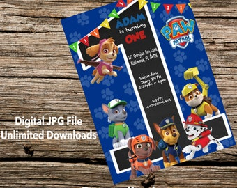 Paw Patrol First Birthday Digital Invitation