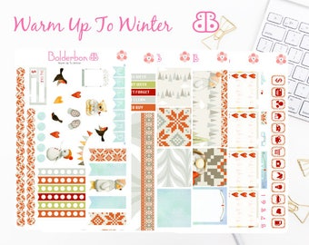 Warm Up To Winter | Planner Stickers, | Weekly Planner Sticker Set, Winter Sticker set, Christmas Sticker set
