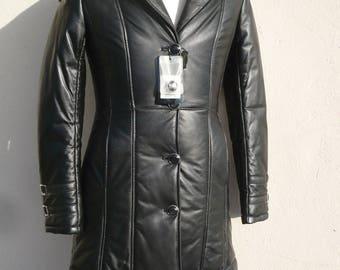 new woman lamb GENUINE leather coat black L 40 USA 10 UK 12  new soft   free shipping