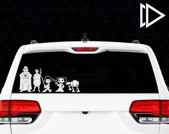 Star Wars Stick Figure Family Car Window Vinyl Decals